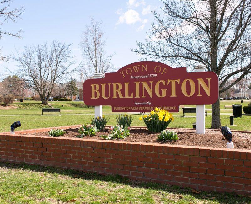 Burlington sign in Burlington town square Burlington, Massachusetts