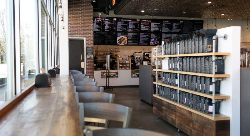 The interior of Pressed Cafe in Burlington, Massachusetts
