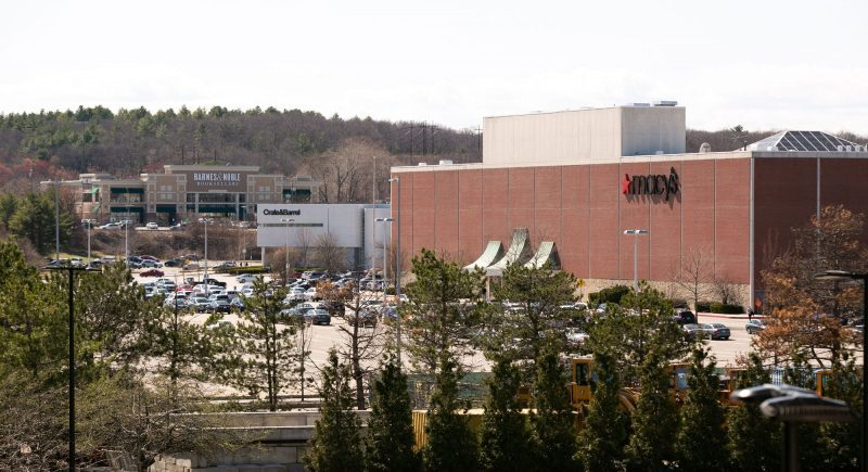 A view of Macy's, Crate & Barrel and Barnes & Nobles located in the various shopping centers in Burlington, Massachusetts